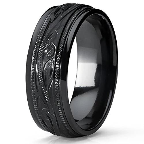 Men S Hand Engraved Floral Black Plated Titanium Wedding Band Engageme Innovatodesign Mens Wedding Rings Titanium Mens Wedding Rings Black Titanium Ring