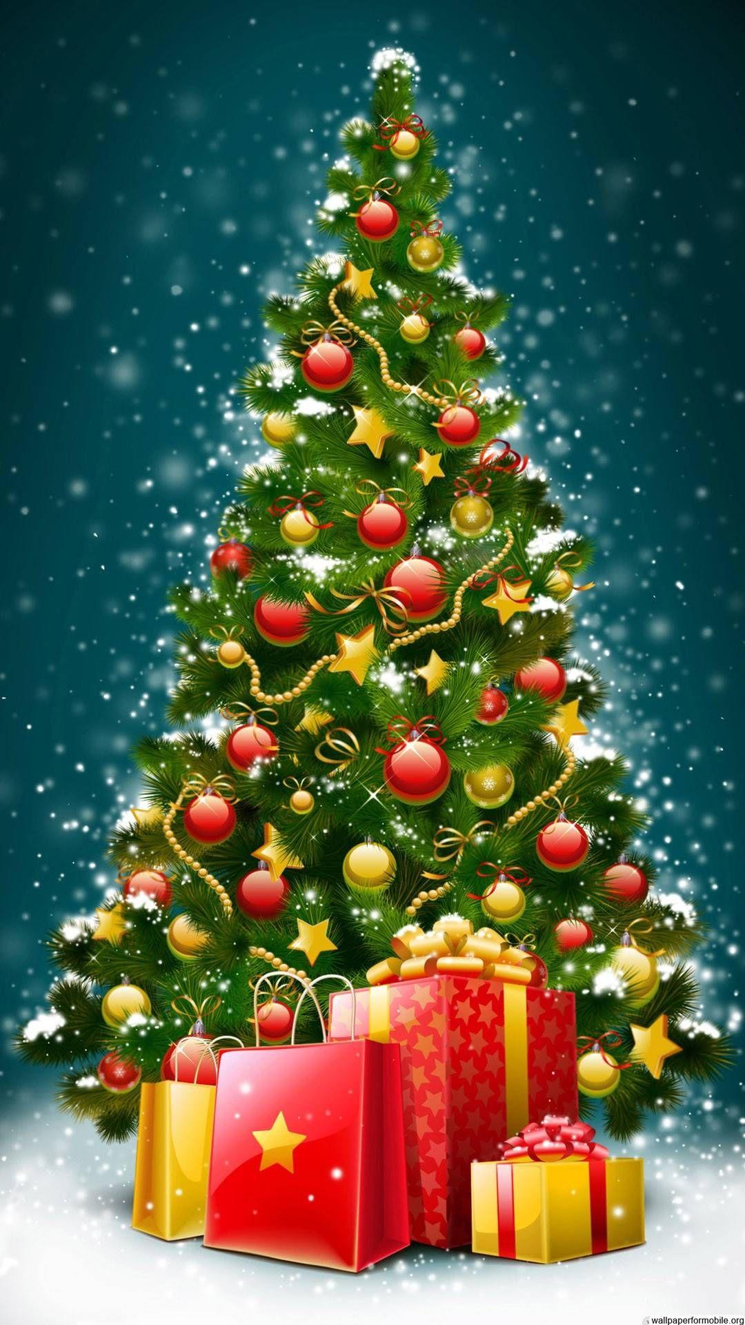Vintage Christmas Tree Wallpaper