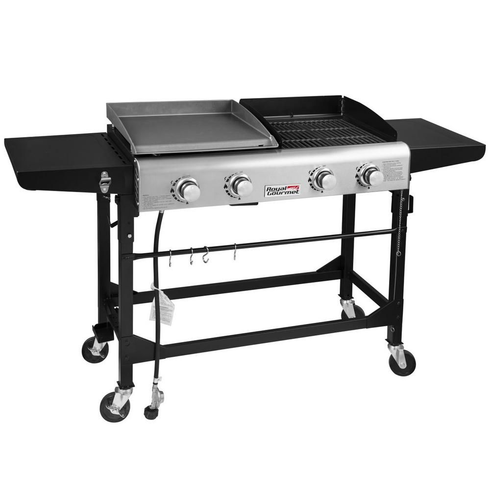 Royal Gourmet 4 Burners Portable Propane Gas Grill And Griddle Combo Grills In Black With Side Tables Gd401 The Home Depot Propane Gas Grill Gas Grill Flat Top Grill