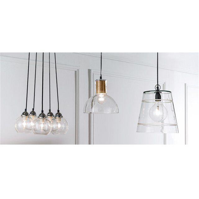 suspension verre et bois lizia la redoute interieurs luminaires. Black Bedroom Furniture Sets. Home Design Ideas