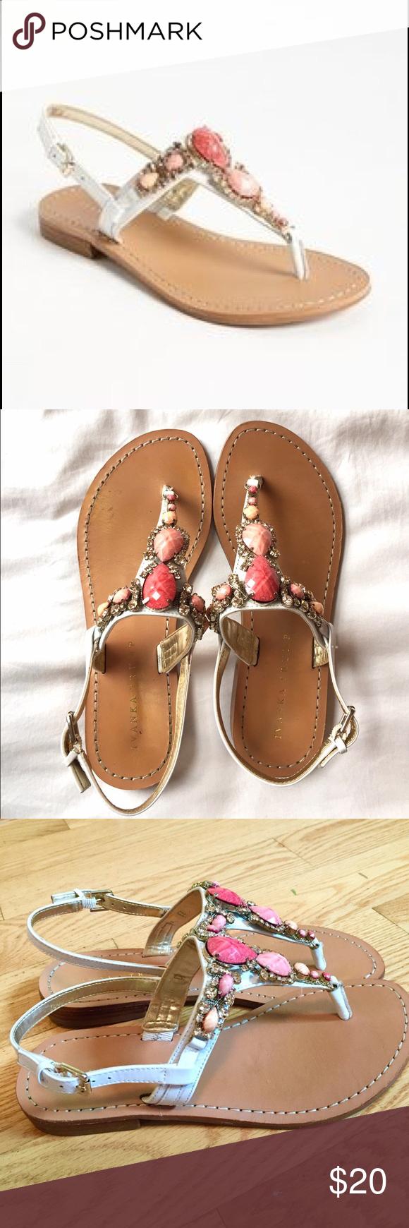 7ade9d33155df2 Ivanka Trump White Jeweled Sandals Ivanka Trump White Leather Pink Jewel  Sandals. Worn Once. Ivanka Trump Shoes Sandals