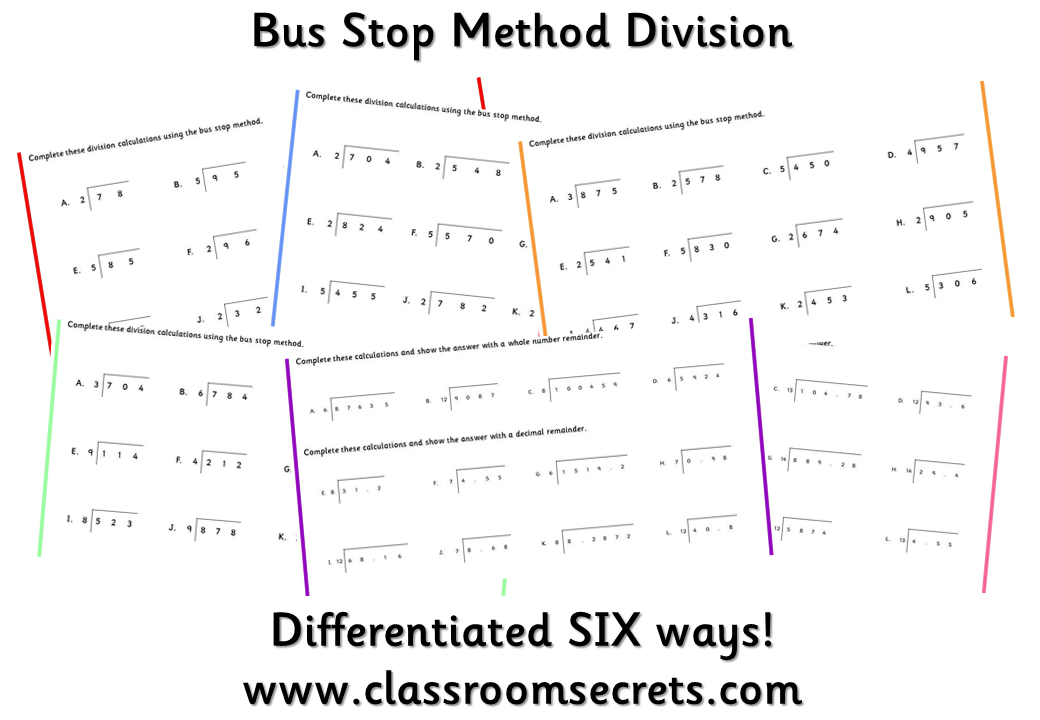 Worksheets To Practice Bus Stop Method Division Differentiated Six