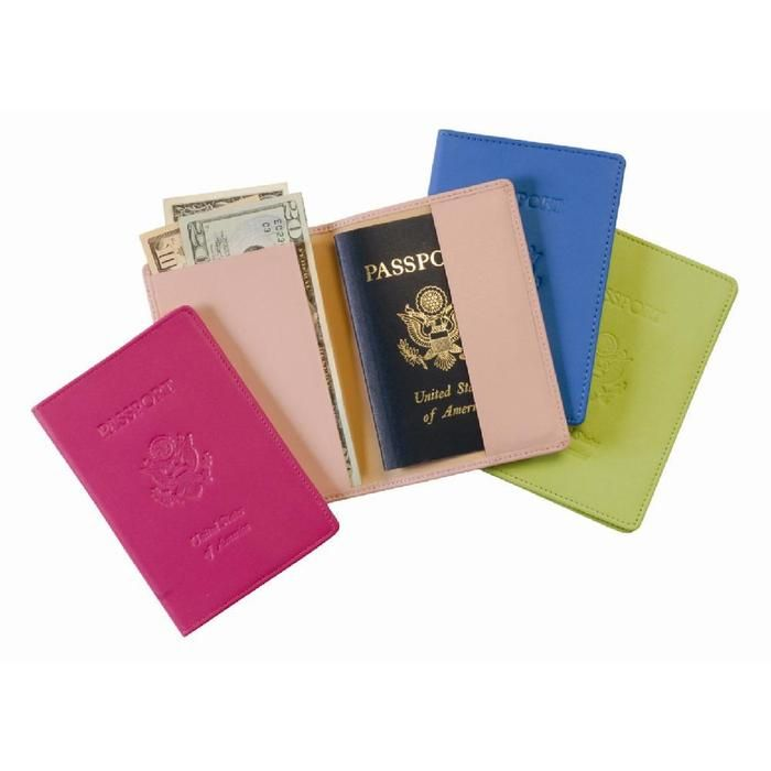Leather passport cover in pink