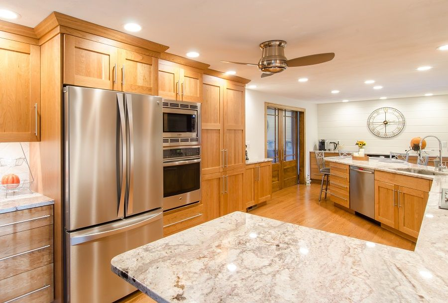 Transitional Kitchen Granite Countertop Natural Cherry Cabinets Stainless Steel App Transitional Kitchen Transitional Decor Kitchen Transitional Home Decor