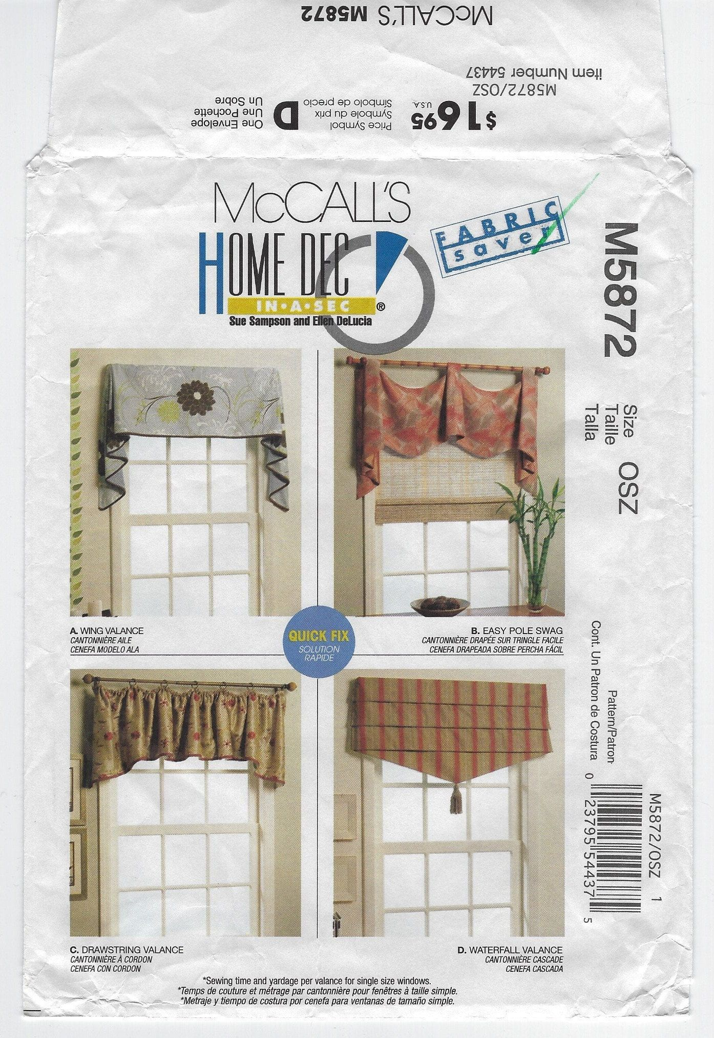 M5872 Mccall S Home Dec In A Sec Window Easy Pole Swag And Valances Wing Drawstring And Waterfall Uncut Sewing Pattern Valance Mccalls Patterns