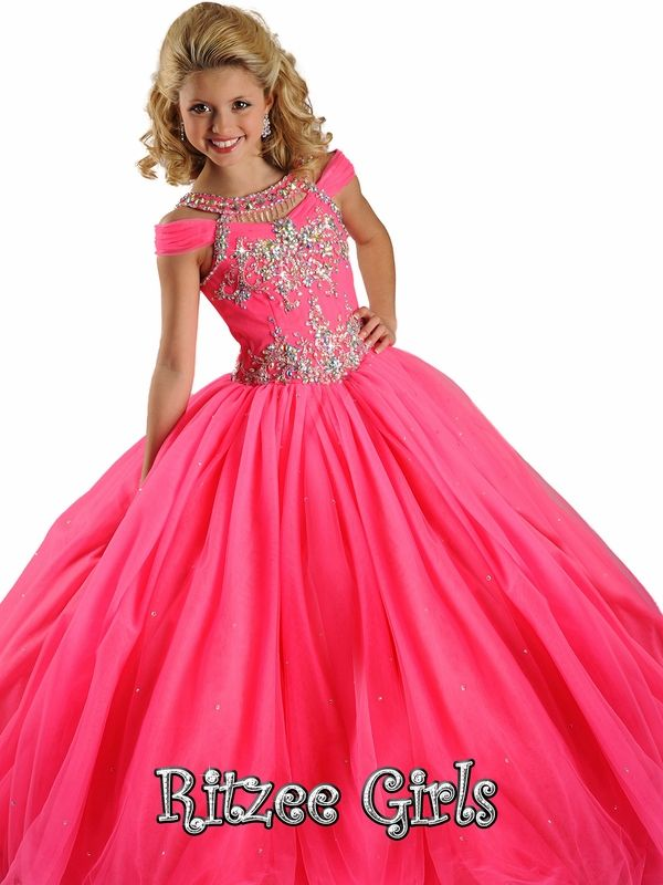 Back Cut Out With Jeweled Accents Ritzee Girls Pageant Gown 6572 ...