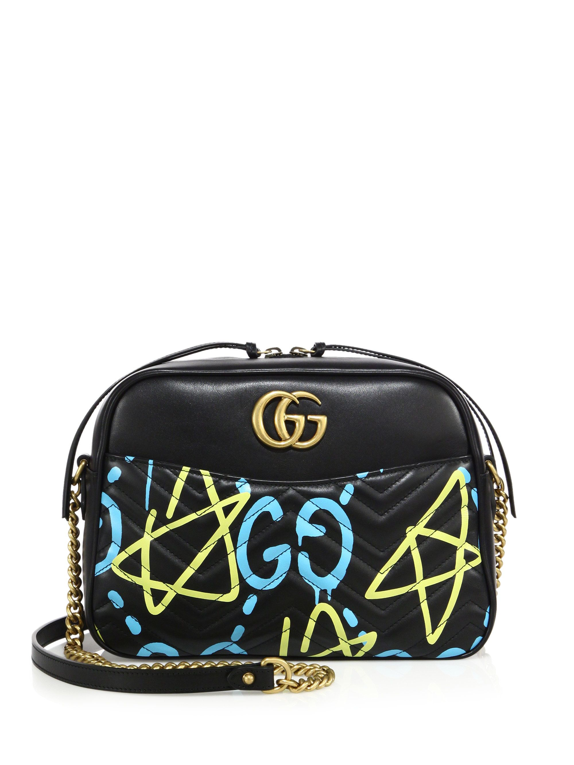 9224d067106c Gaga for Gucci | Black Ghost GG Marmont Matelassé Leather Shoulder Bag |  Lyst #gucci