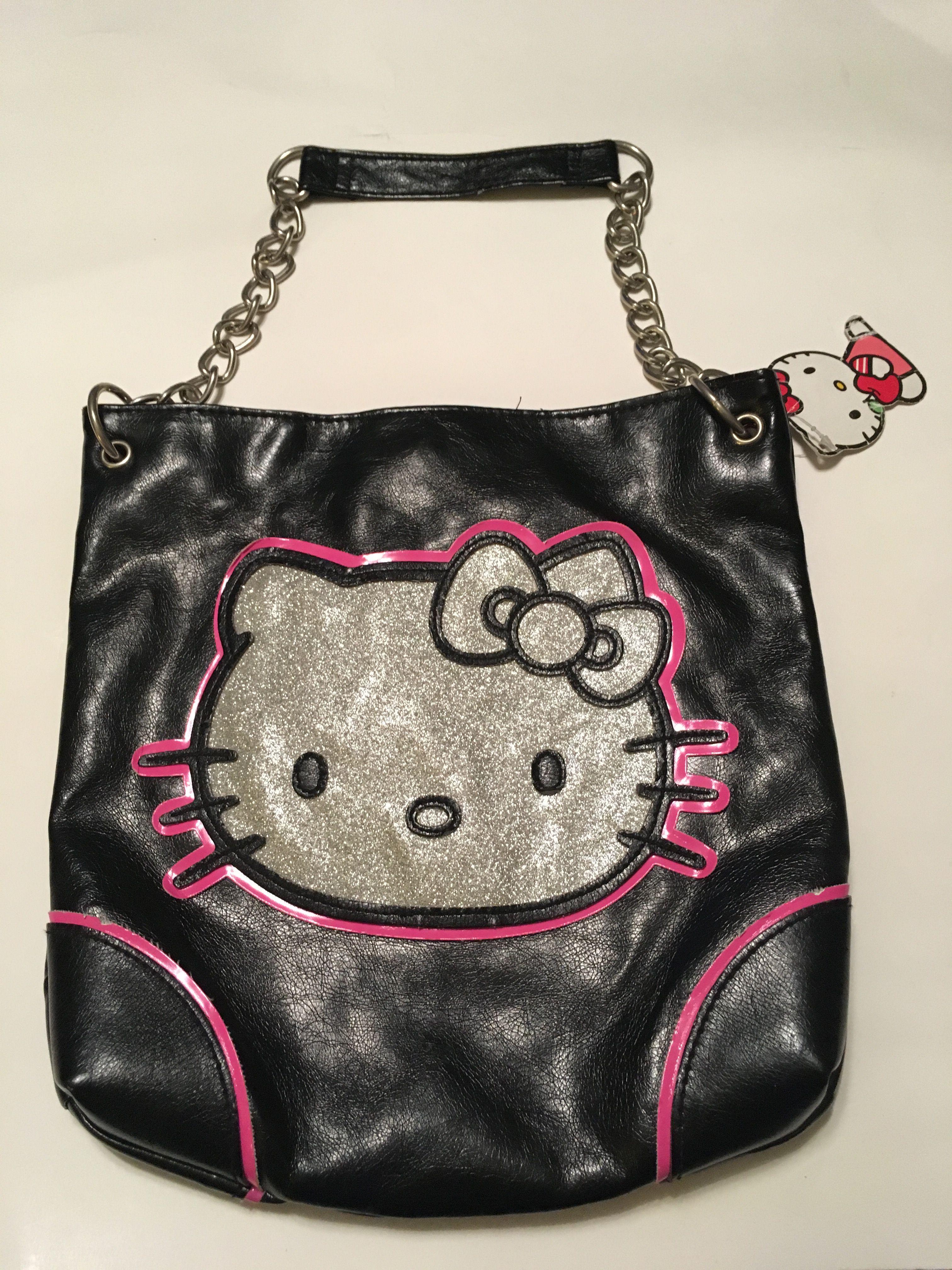 5f9953465 New Authentic Hello Kitty Black & Silver Glitter Face Shoulder Bag W/Chain  Strap.