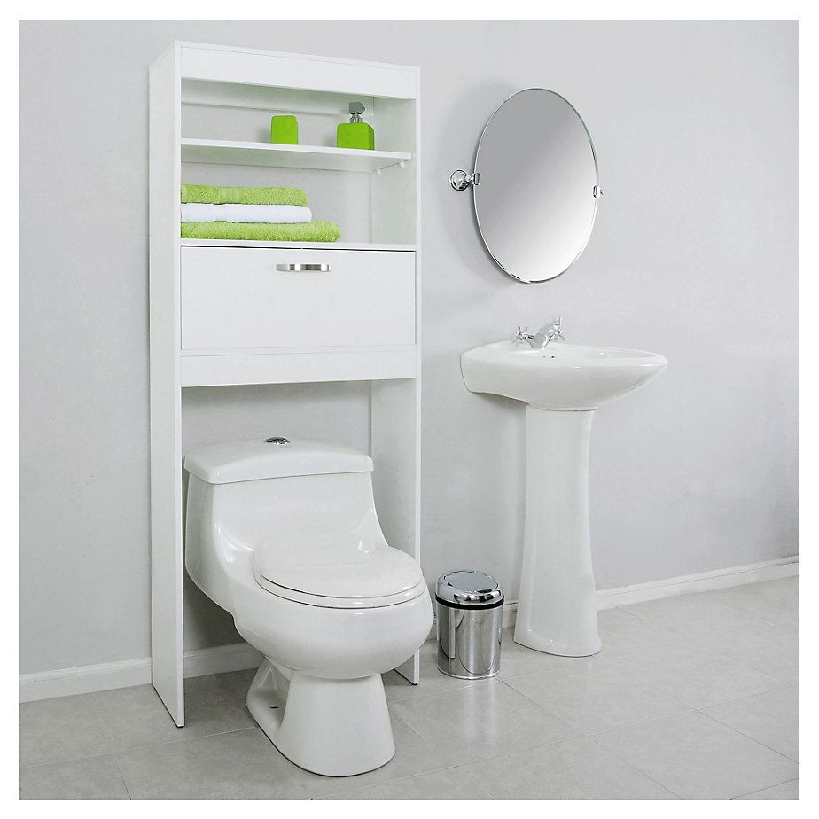 Ecole mueble ba o ahorrador de espacio blanco bath for Mueble bano blanco