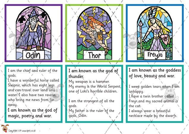 Teacher's Pet Activities & Games » Viking God Matching Cards ...