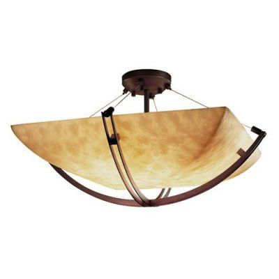 Justice Design Group CLD-9712 - Crossbar 24 Semi-Flush - Square Bowl Shade - Dark Bronze - CLD-9712-25-DBRZ-LED-5000