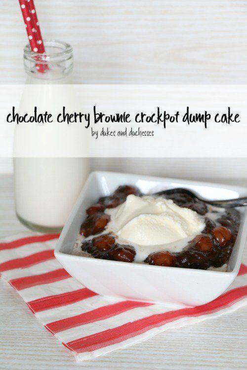 chocolate cherry brownie crockpot dump cake