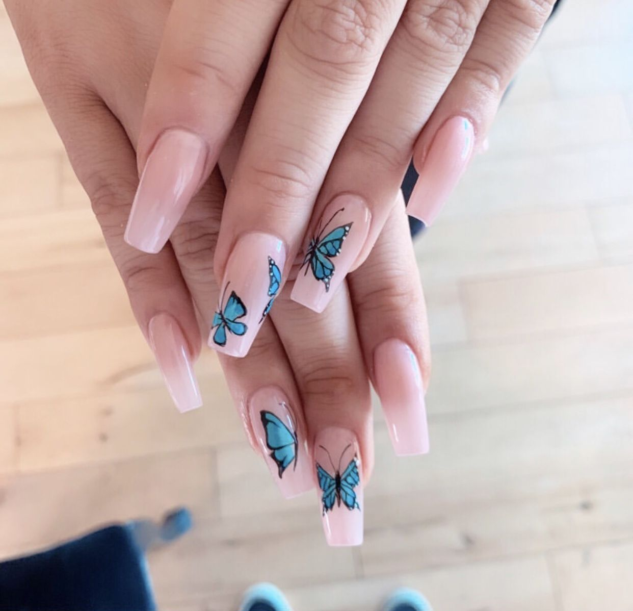 Hand Painted Butterfly Nails Simple Acrylic Nails Square Acrylic Nails Blue Acrylic Nails