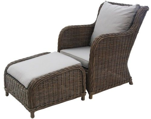 Madison Cane Wicker Rattan Armchair Footrest With Cushions