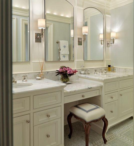 Double Sink Bathroom Vanity With Makeup Area - Mugeek ...