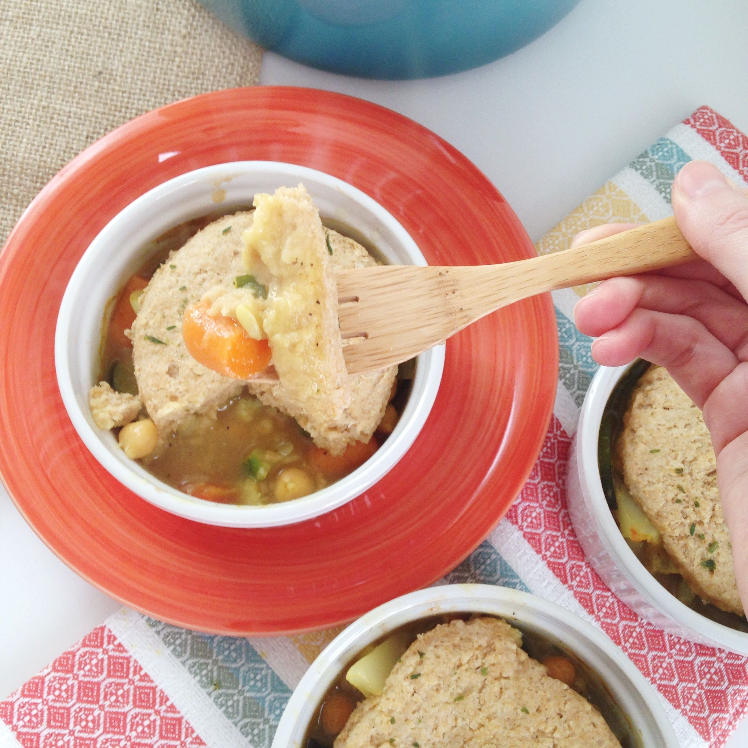 Chickpea Curry Pot Pie {vegan}--- spicy vegetable curry stew topped with soft, whole wheat biscuits!