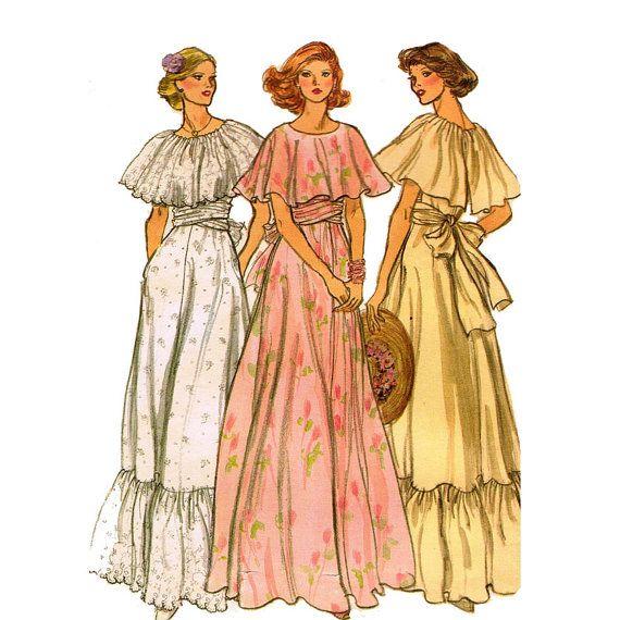 1970 Capelet colar Vestido de Noite VOGUE 9731 vestido longo verão com Coletados Capelet Busto 30,5 Vogue Vintage padrão de costura
