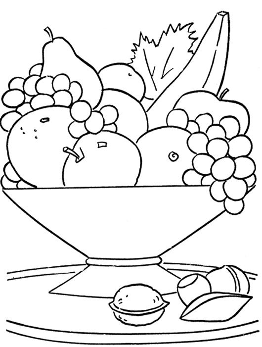 Fresh Fruit In The Basket Coloring Page Fruit Coloring Pages