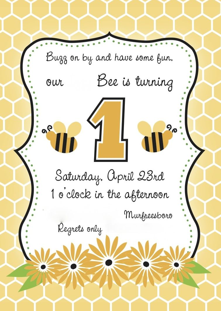 1st Birthday Card With A Bumble Bee Design Names And Details Have