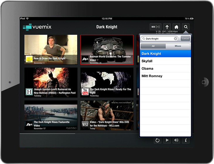 Vuemix a new video streaming App for iPad users Vuemix