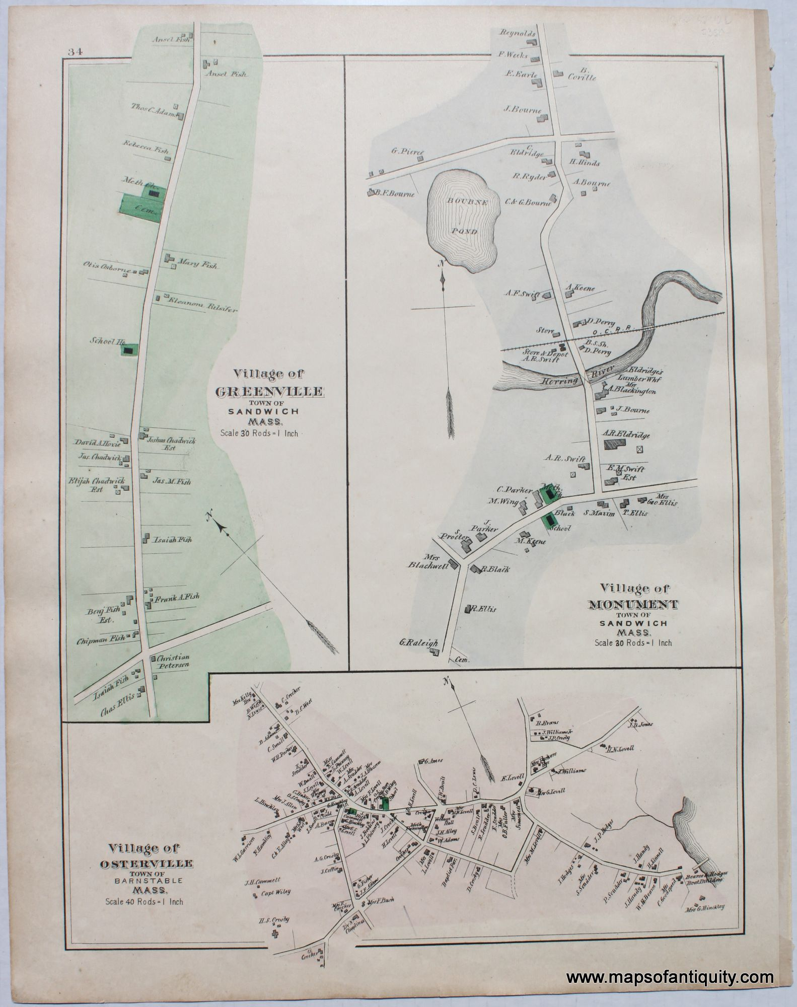Villages Of Greenville Monument Osterville P 34 Antique Maps
