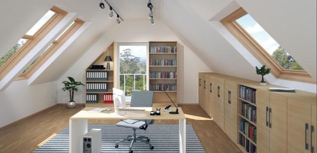 Heimbüro #dachschräge #regal #arbeitszimmer ©deinSch... | Pinterest ...