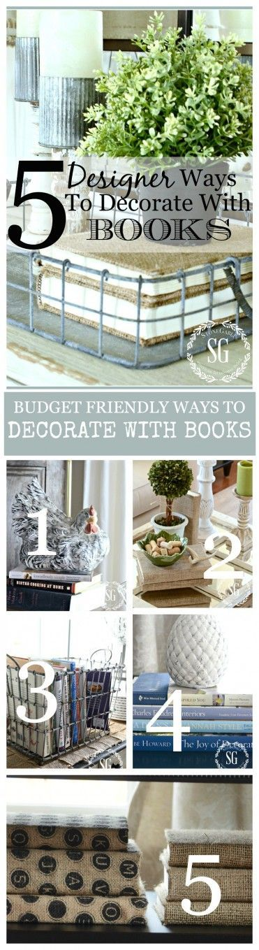 Info's : 5 DESIGNER WAYS TO DECORATE WITH BOOKS Budget friendly IDEAS to amp up your decor with books