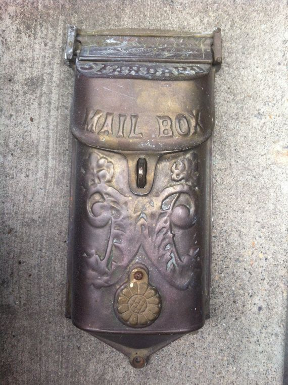 Antique Brass Mailbox Vintage Mail Box Wall Mount Victorian Mailbox Restoration Mail Box Old Mailbox Vintage Mailbox Victorian Mailboxes