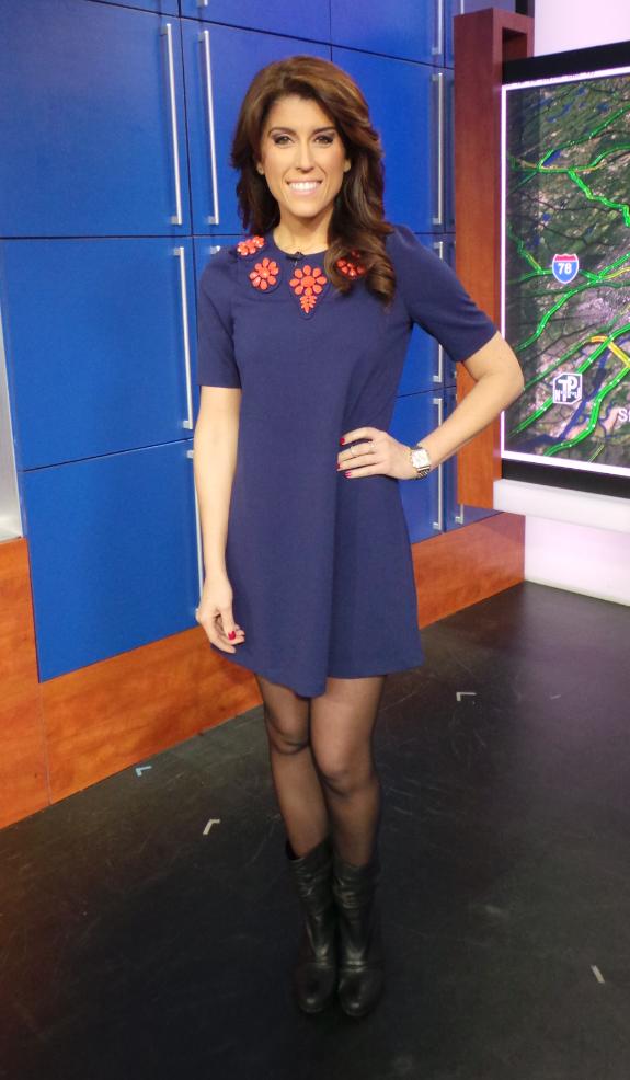 Lauren Scala, NBC anchor in Kennedy dress in navy ...
