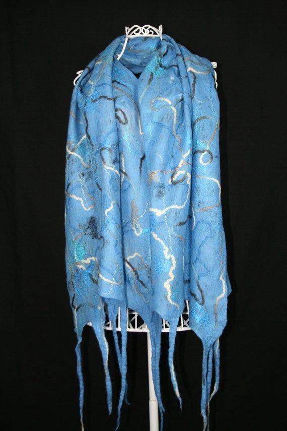 Wool Felted Shawl Blue Wool Scarf Neck warmer Cobweb Scarf   Etsy