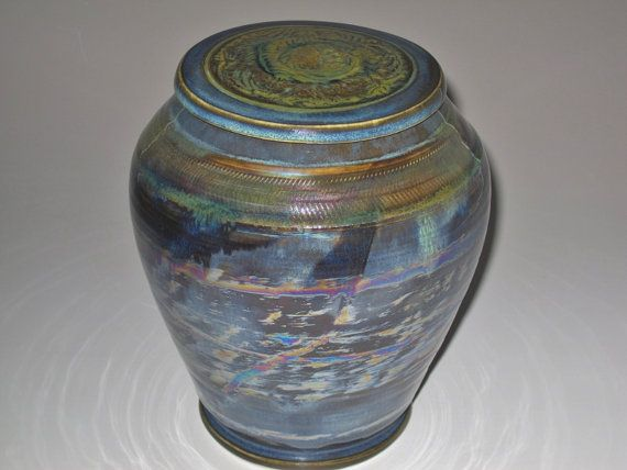 Artful Urn in Midnight Blue Lagoon Luster by earthtoartceramics, $125.00