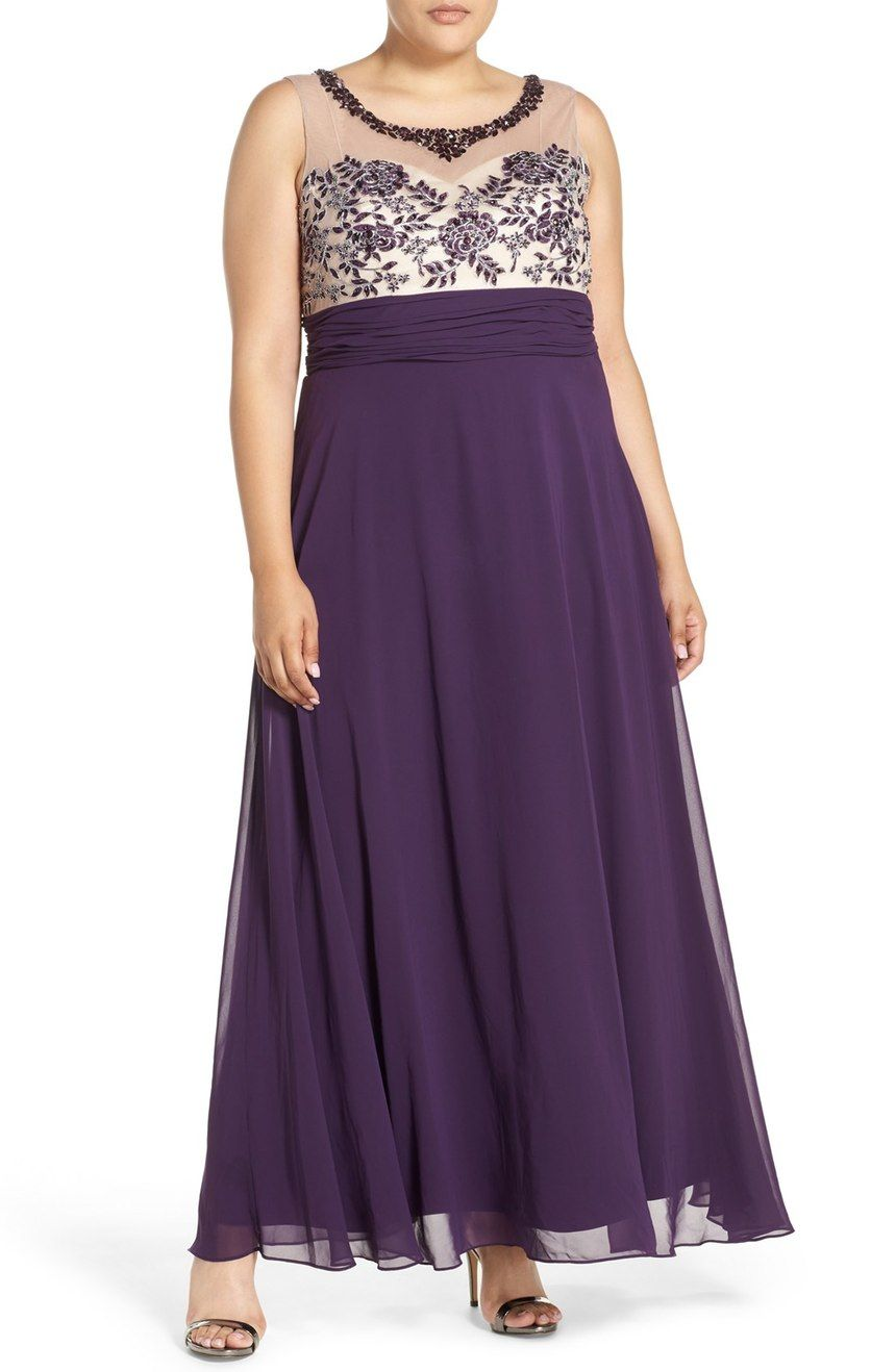 Xscape Beaded Illusion Bodice Empire Waist Gown (Plus Size ...