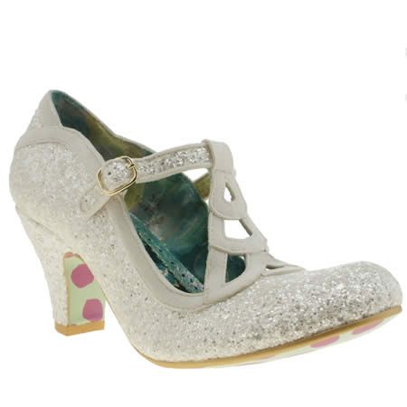 Womens Irregular Choice White Nicely Done Glitter Low Heels My Wedding Shoes