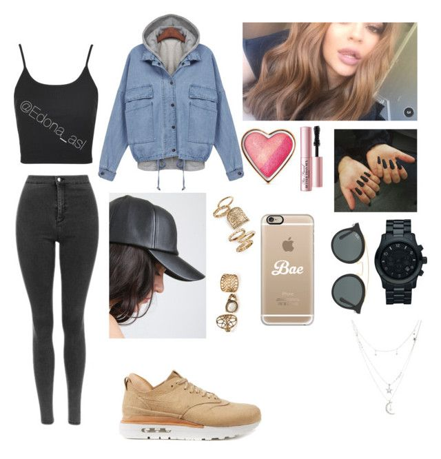 """""""N I K E   S U E D E"""" by edonaasl ❤ liked on Polyvore featuring NIKE, Too Faced Cosmetics, Michael Kors, Ray-Ban, Topshop, Casetify and Charlotte Russe"""