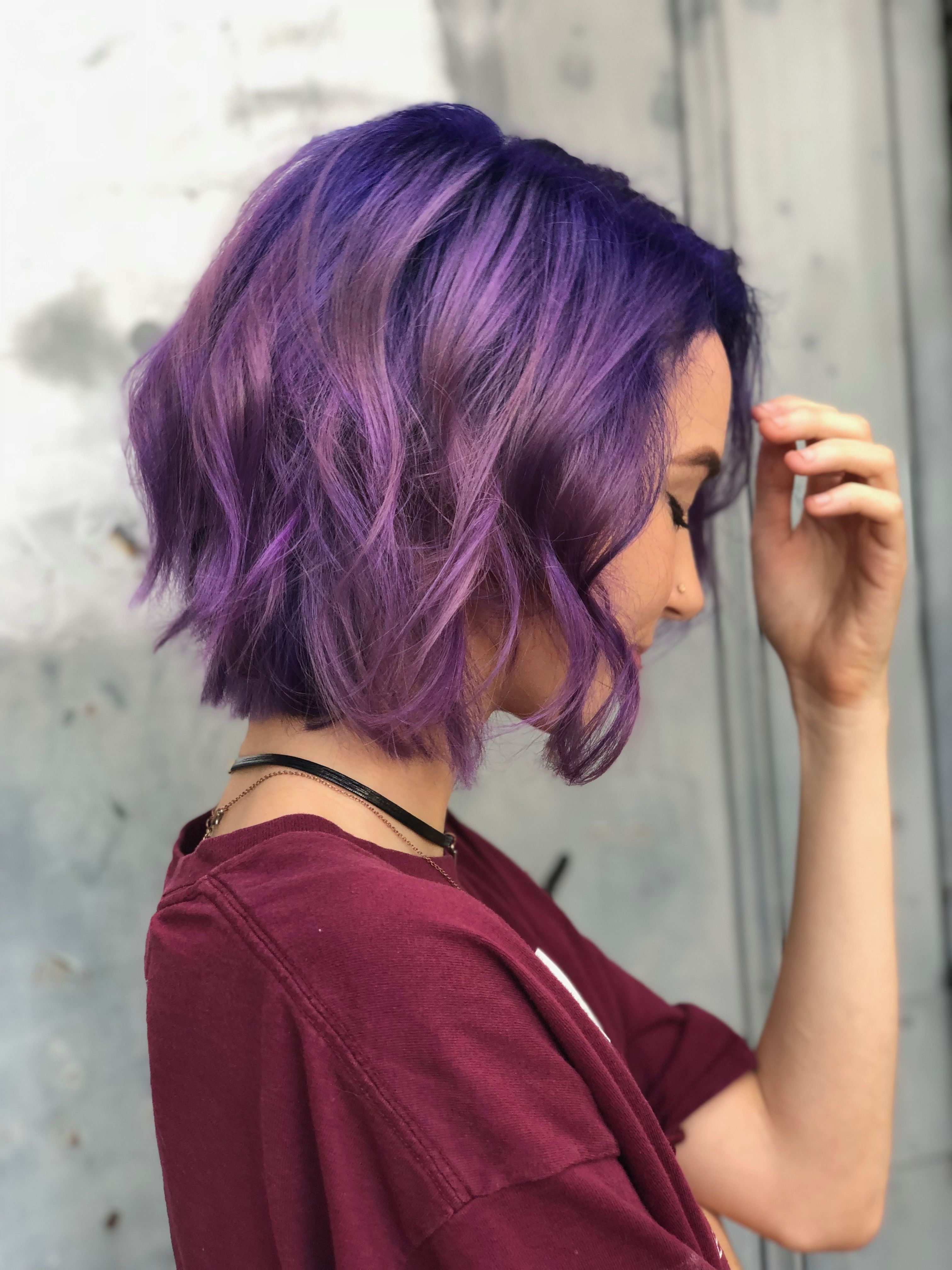 Short Purple Hair Haircut Waves Curly Hair Purple Ombre Hair Short Purple Hair Short Dyed Hair