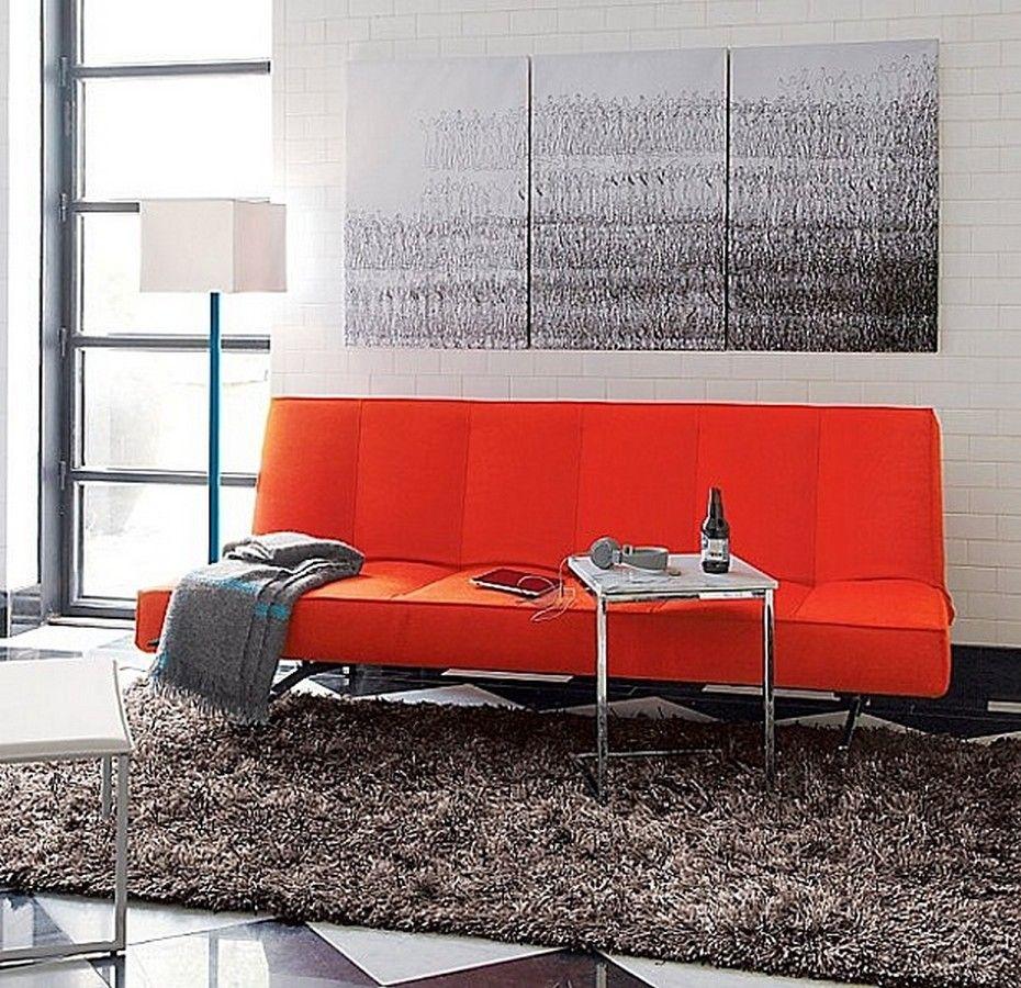 Flex Orange Sleeper Sofa With A Fiery Hue And Polished Chrome Base From Cb2 For