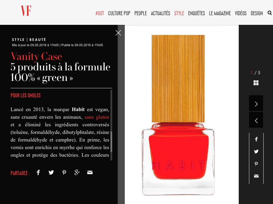 Habit Cosmetics Nail Polish in French Vanity Fair Slideshow May 9th, 2016