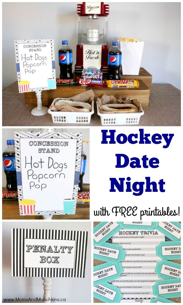 Date Ideas for Guys - Hockey Night | Free printables, Ice hockey and Guy