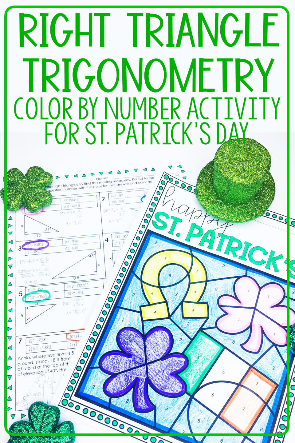 ST. PATRICK'S DAY Geometry   Right Triangle Trig Coloring Activity   Trigonometry  worksheets [ 1440 x 960 Pixel ]