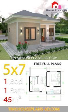 Small House Design Plans 5×7 with One Bedroom Hip Roof