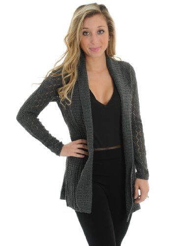 Soft and Luxurious Womens Long Gray Crochet Cardigan Sweater Made ...
