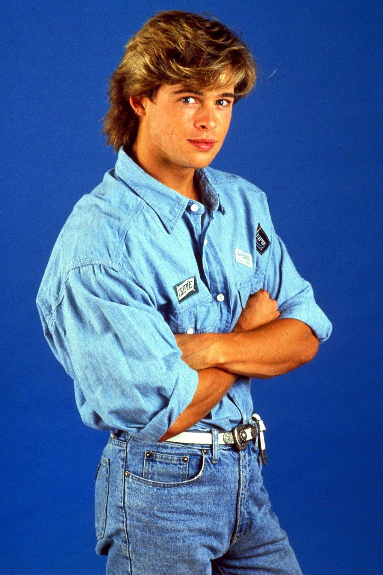 brad pitt 1980's high waist jeans  moda ochentera brad