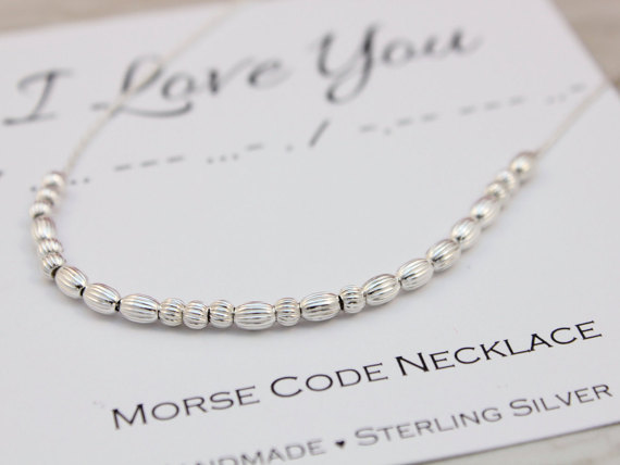 Morse Code necklace I Love You, silver necklace, gift for wife, gift for girlfriend, birthday gift, sterling silver, love necklace, Etsy