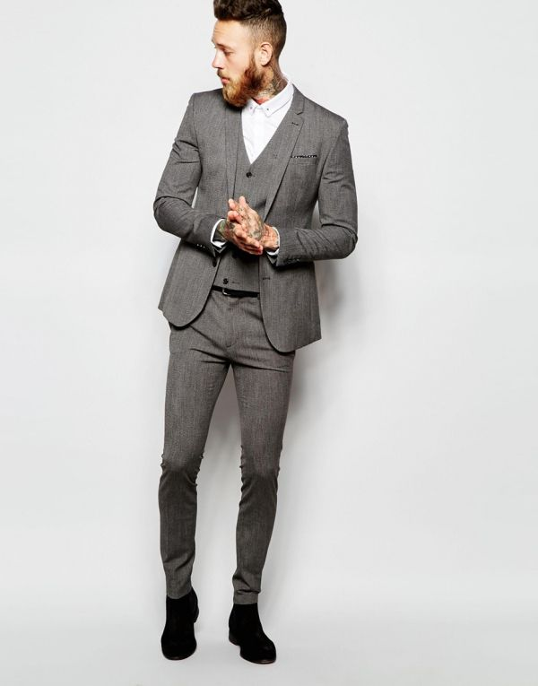 Imagen 70 Chaqueta de traje muy entallada con diseño jaspeado y pantalón  súper pitillo  f0cb3cf09e4