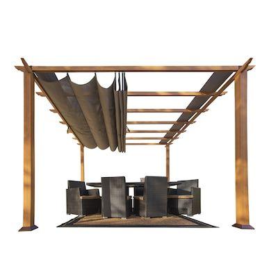 Best Stc Wood Color Metal Square Semi Gazebo Exterior 11 Ft 400 x 300