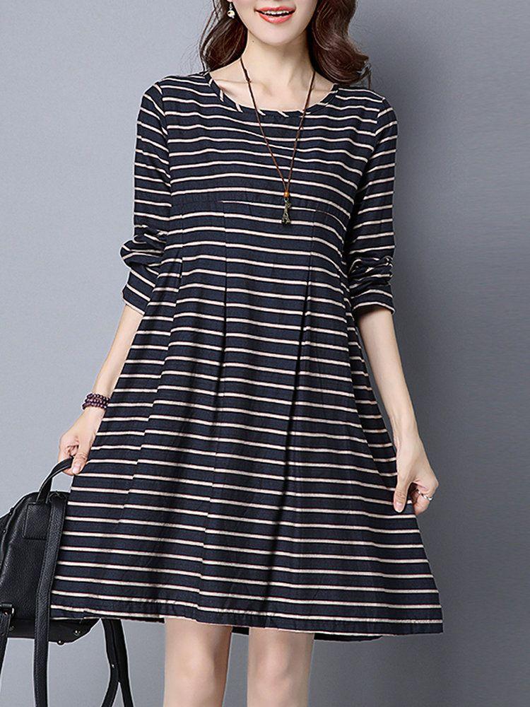 d0c266697b Women Stripe High Waist Long Sleeve Loose Vintage Dress Online - NewChic