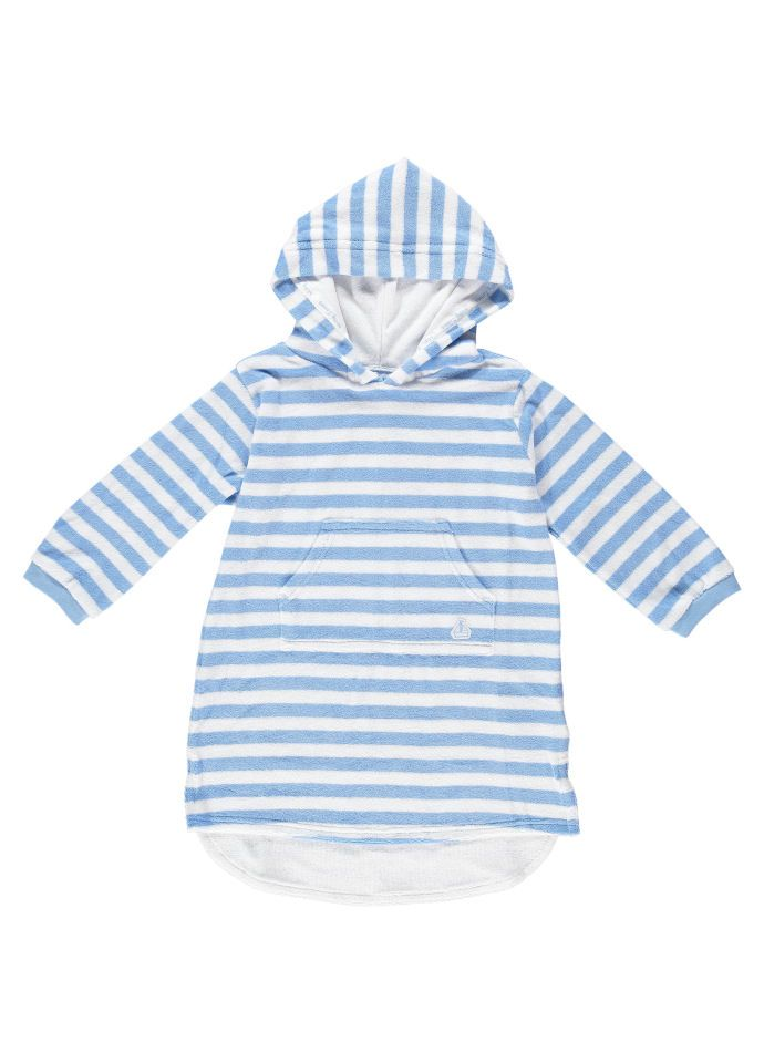 b24df7a789246 Sky And White Stripe Long Hooded Towel Top by Mitty James Kids Beachwear