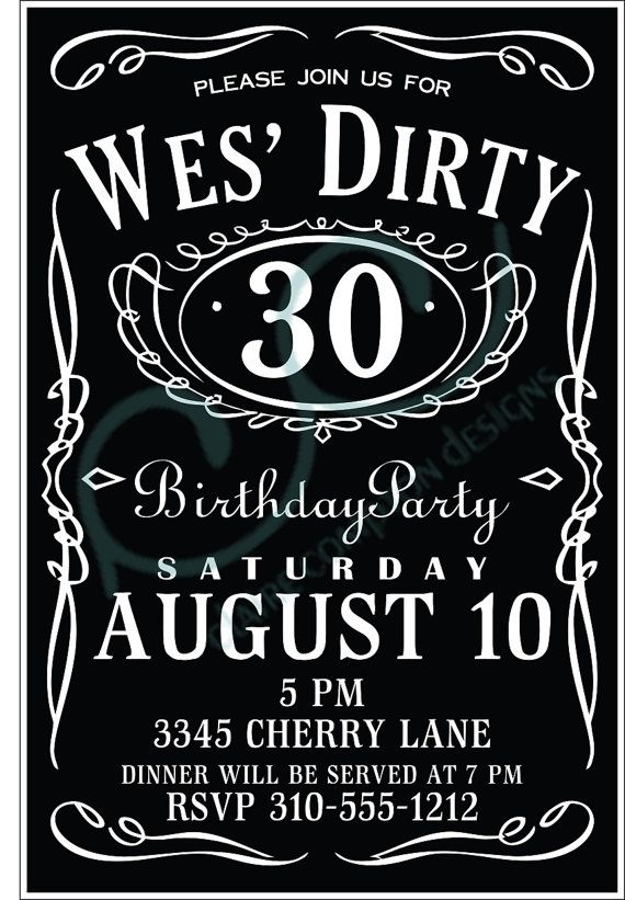 Dirty 30 Birthday Invitation By CCdesignSpace On Etsy 1000