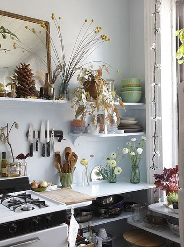 Kitchen by Design*Sponge/Grace Bonney ~ A pretty vignette, but a food prep area has to be dust-free. Maybe she has a maid/cook who does that :-) #home