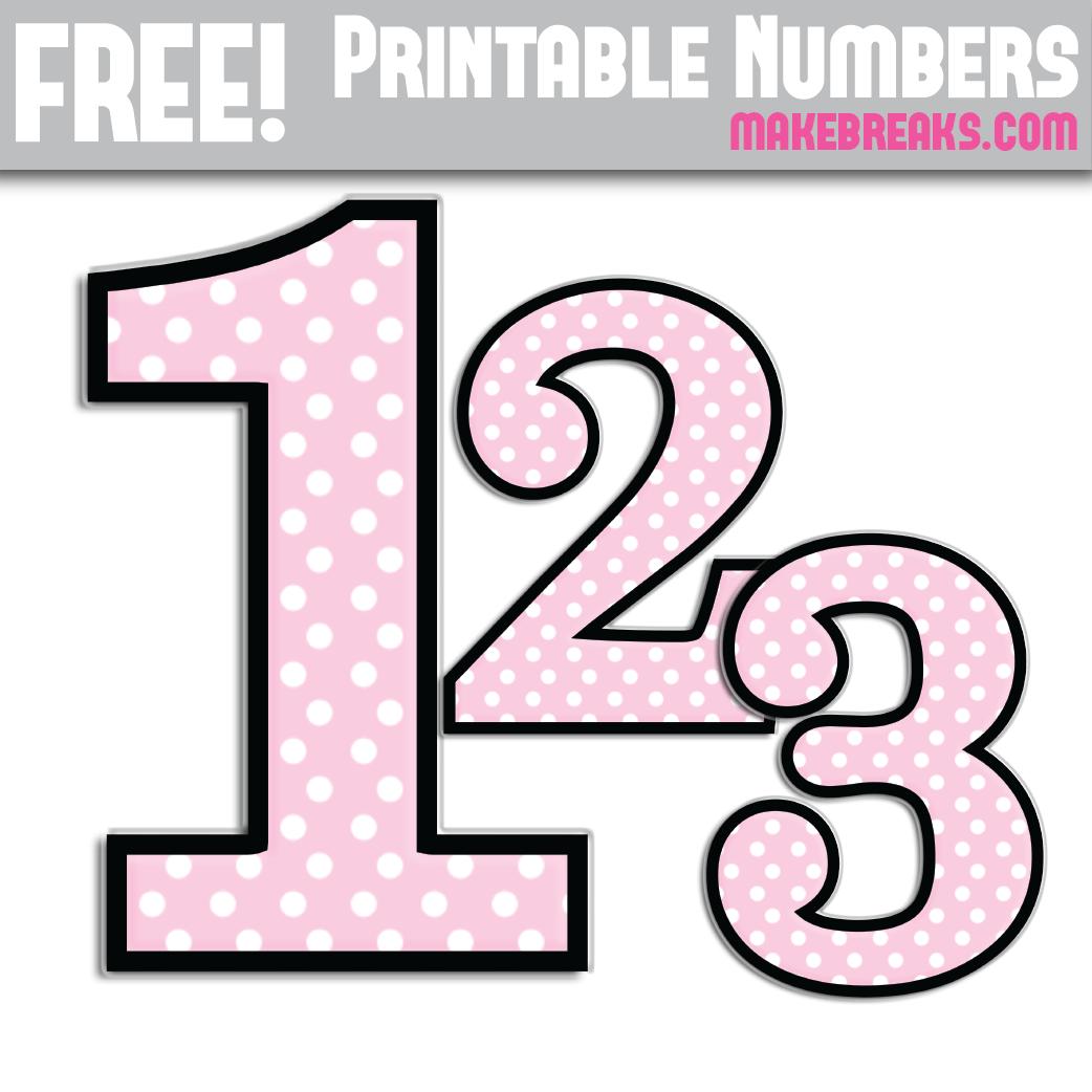 Pink Polkadot With Black Edge Printable Numbers 0